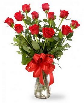 Zonguldak çiçek , çiçekçi , çiçekçilik  12 adet kırmızı güllerden vazo tanzimi