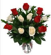 Vazo içerisinde 6 kırmızı 6 beyaz gül  Zonguldak hediye çiçek yolla