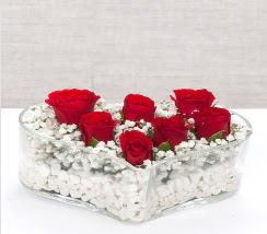 kalp içerisinde 7 adet kırmızı gül  Zonguldak çiçek siparişi vermek