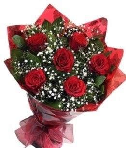6 adet kırmızı gülden buket  Zonguldak çiçek yolla , çiçek gönder , çiçekçi