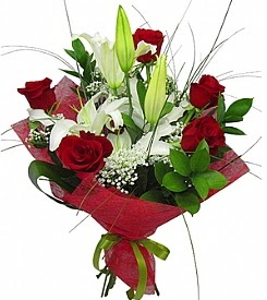 1 dal kazablanka 5 kırmızı gül buketi  Zonguldak kaliteli taze ve ucuz çiçekler