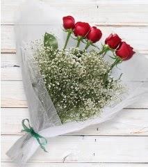 5 kırmızı gülden sade buket  Zonguldak çiçek yolla
