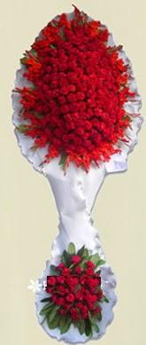 Çift katlı kıpkırmızı düğün açılış çiçeği  Zonguldak cicekciler , cicek siparisi
