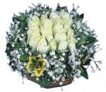 Zonguldak çiçekçiler  Beyaz harika bir gül sepeti