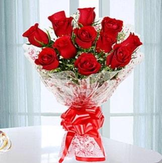 11 adet kırmızı gülden görsel şık buket  Zonguldak çiçekçi telefonları