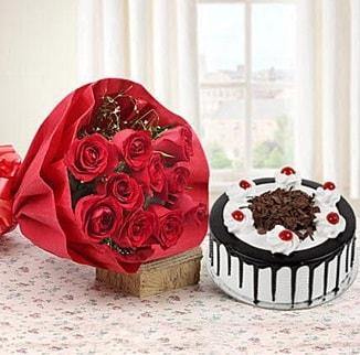 12 adet kırmızı gül 4 kişilik yaş pasta  Zonguldak çiçek , çiçekçi , çiçekçilik