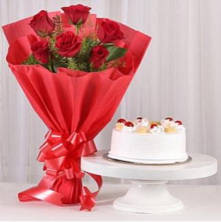 6 Kırmızı gül ve 4 kişilik yaş pasta  Zonguldak çiçek , çiçekçi , çiçekçilik