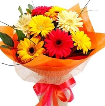 9 adet karışık gerbera buketi  Zonguldak çiçek , çiçekçi , çiçekçilik