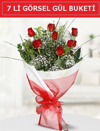 7 adet kırmızı gül buketi Aşk budur  Zonguldak çiçek satışı