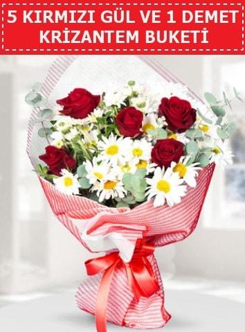 5 adet kırmızı gül ve krizantem buketi  Zonguldak çiçek satışı