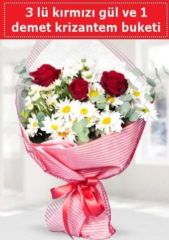 3 adet kırmızı gül ve krizantem buketi  Zonguldak çiçek gönderme sitemiz güvenlidir