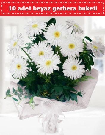 10 Adet beyaz gerbera buketi  Zonguldak çiçek , çiçekçi , çiçekçilik