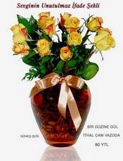 Zonguldak internetten çiçek satışı  mika yada Cam vazoda 12 adet sari gül